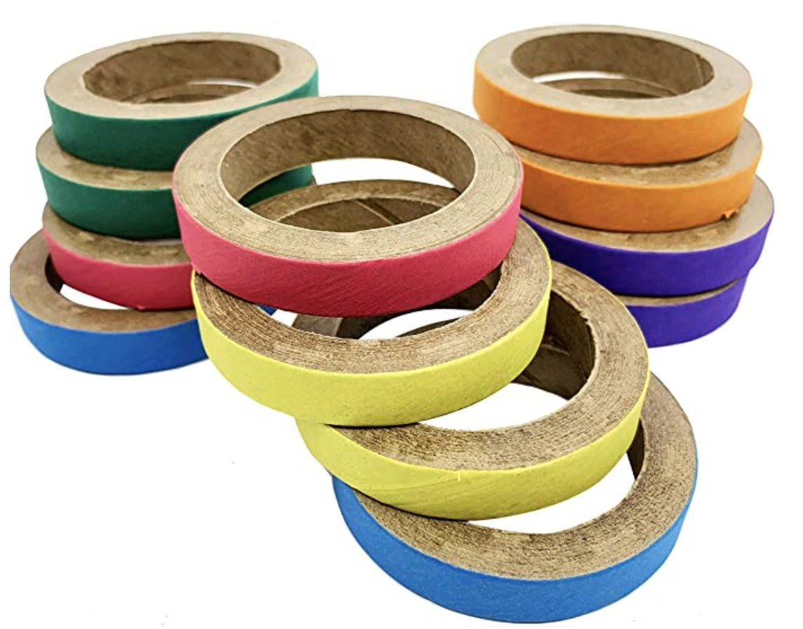 A pile of colorful rings for birds to peck at