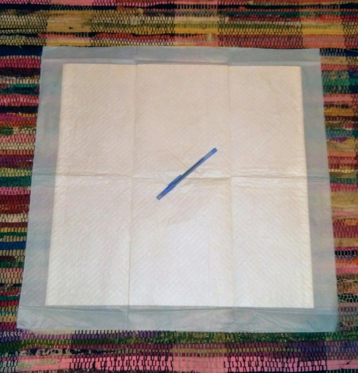 A reviewer's image of a single dog training pad