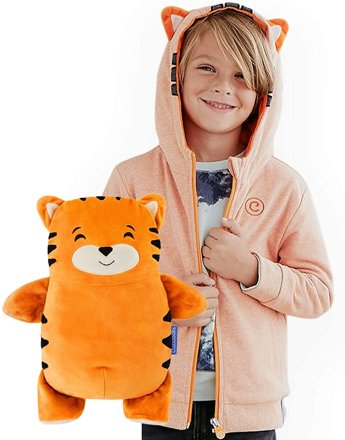 A kid model in an orange pullover with ears on the hood and the tiger plush the sweatshirt turns into
