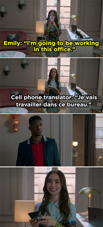 Emily speaking English into her phone and then playing the French translation on speaker