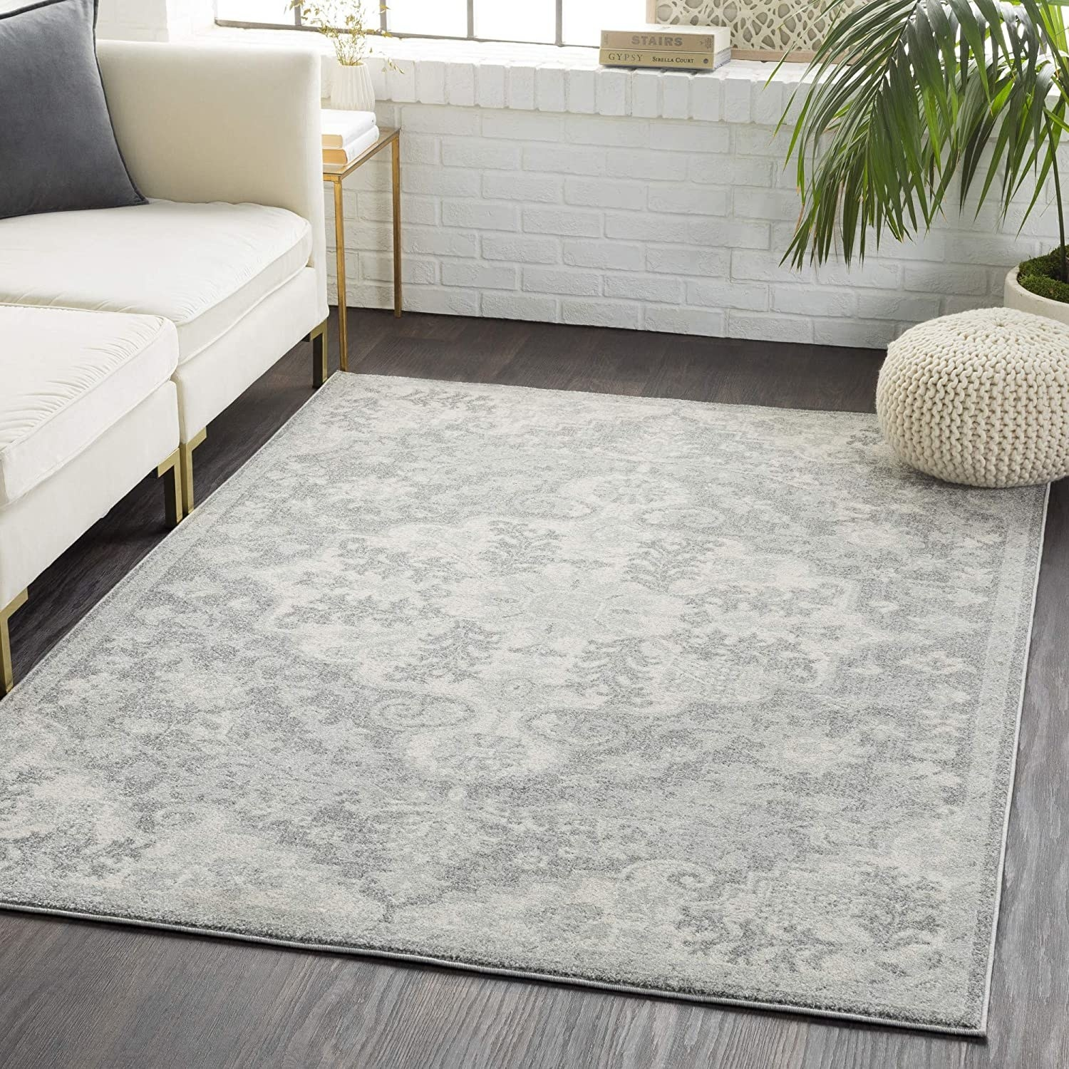 Charcoal colored area rug