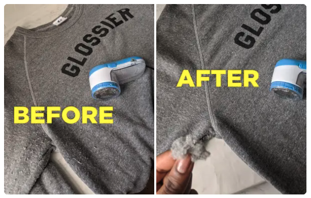The before and after photo showing the shaver removed fabric pills form a sweater