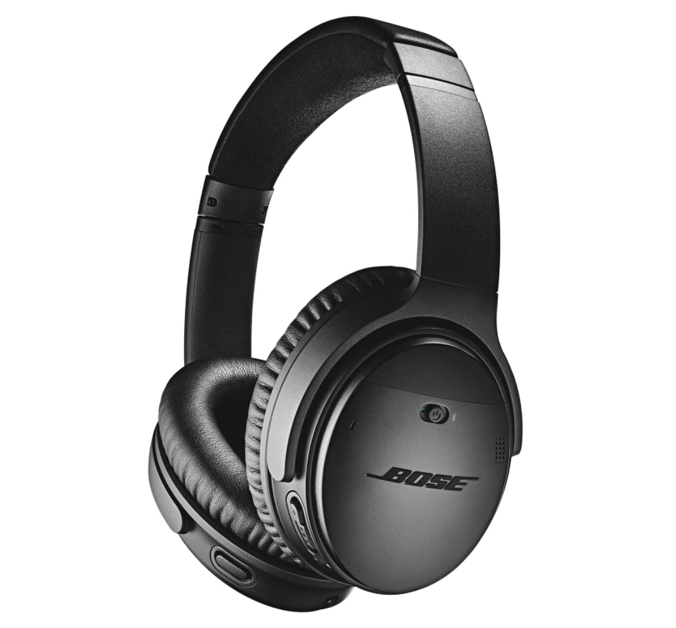 A photo of noise-cancelling headphones with padding for the ear area