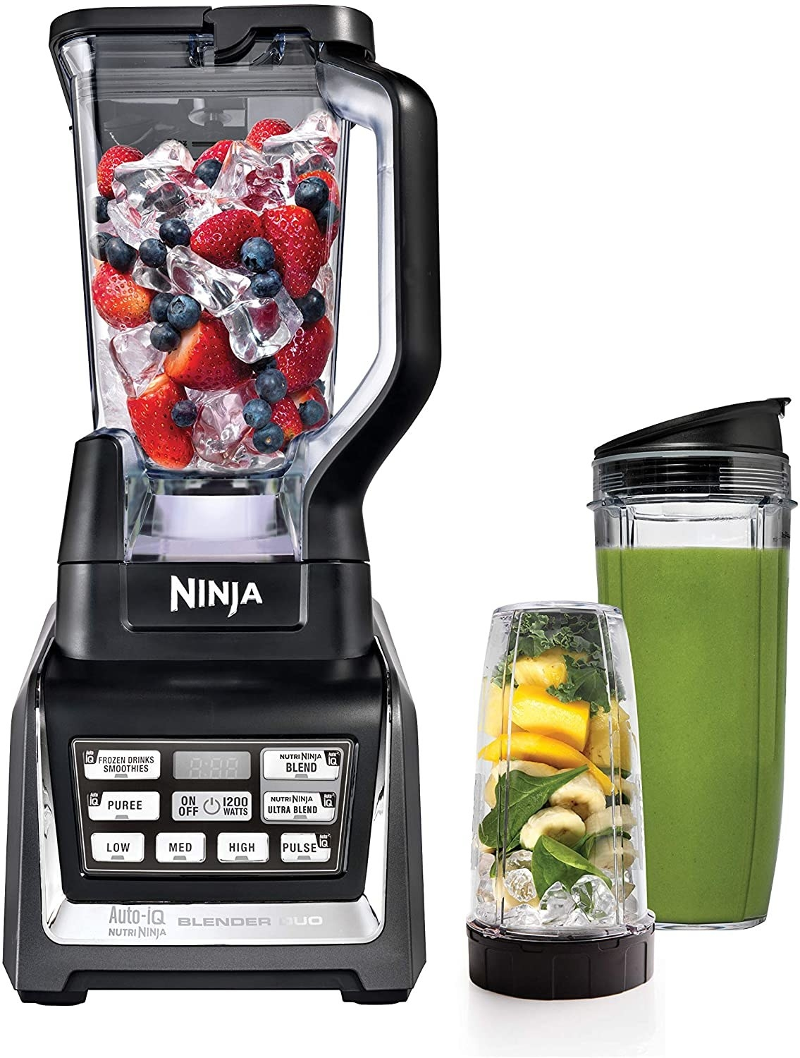 A blender with fruit and ice