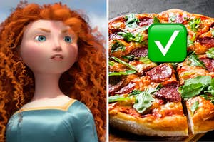 Merida is on the left with a pepperoni pizza and a check mark emoji on the right