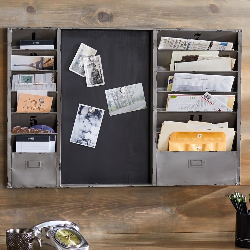 A chalkboard with pockets for files, newspapers and mail