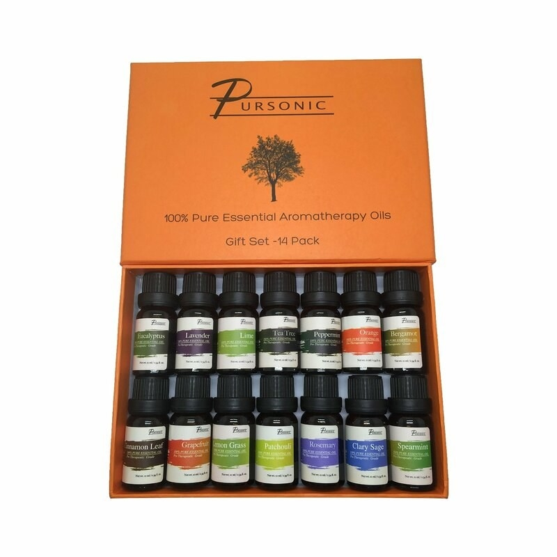 A box of aromatherapy essential oils