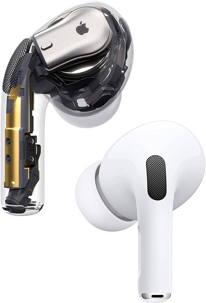 Pic of AirPods with one of them showing the inner mechanics