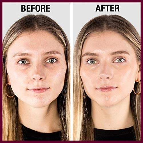A before and after of a person wearing concealer