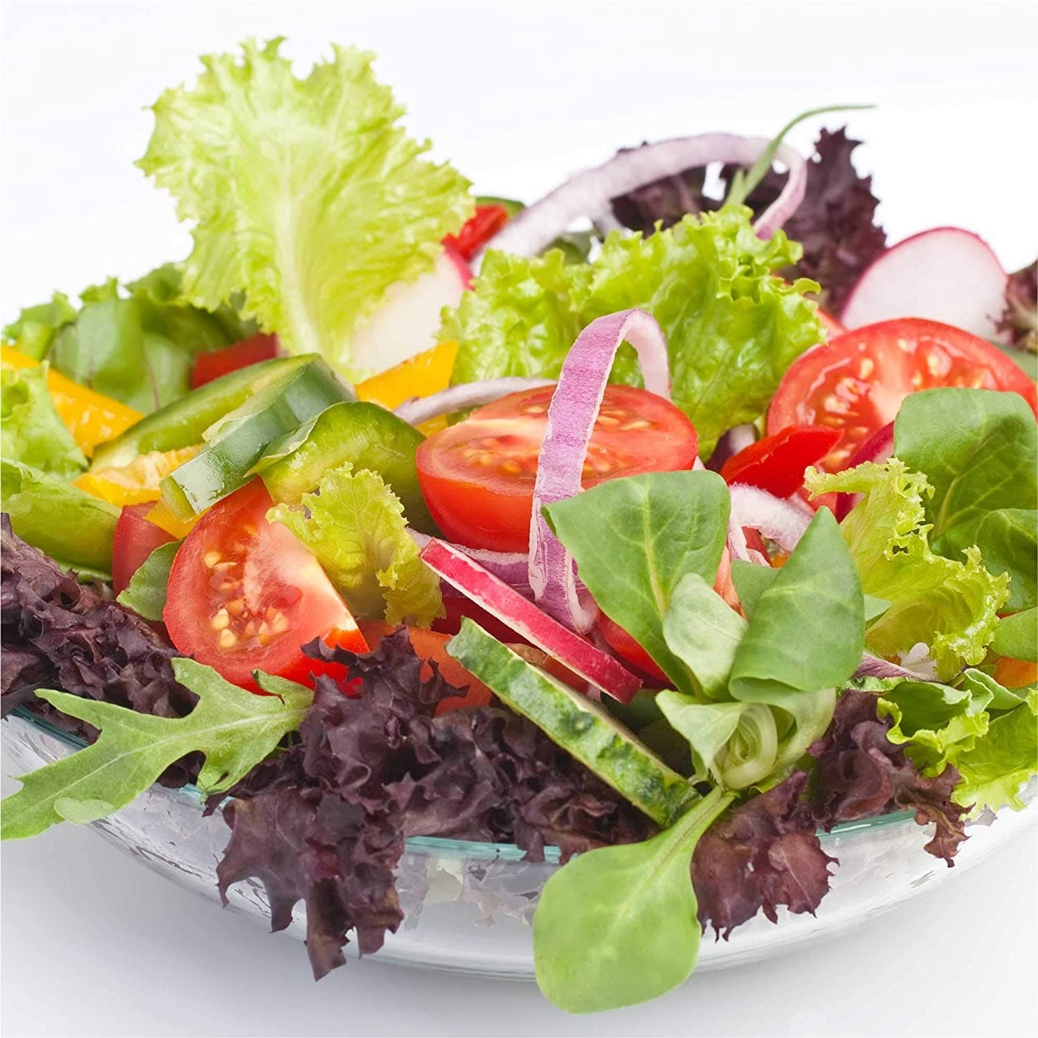 An heriloom salad in a glass bowl