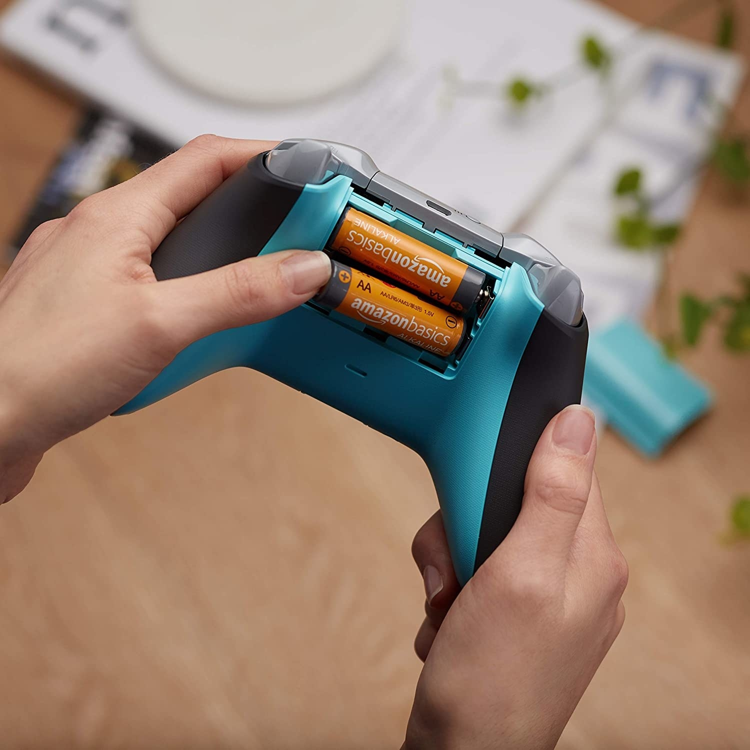 A person holding a controller with two batteries in the back