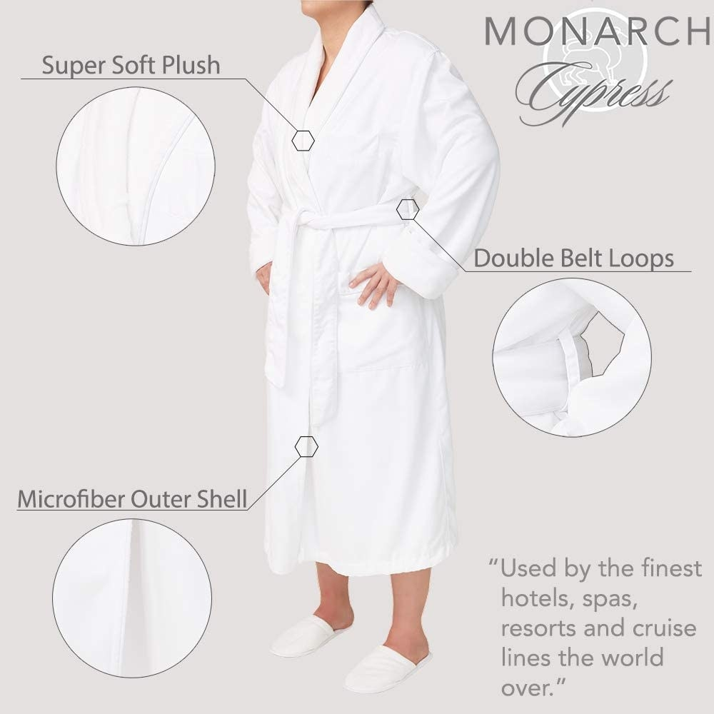A graphic showing the microfiber shell, plush lining, and double belt loops