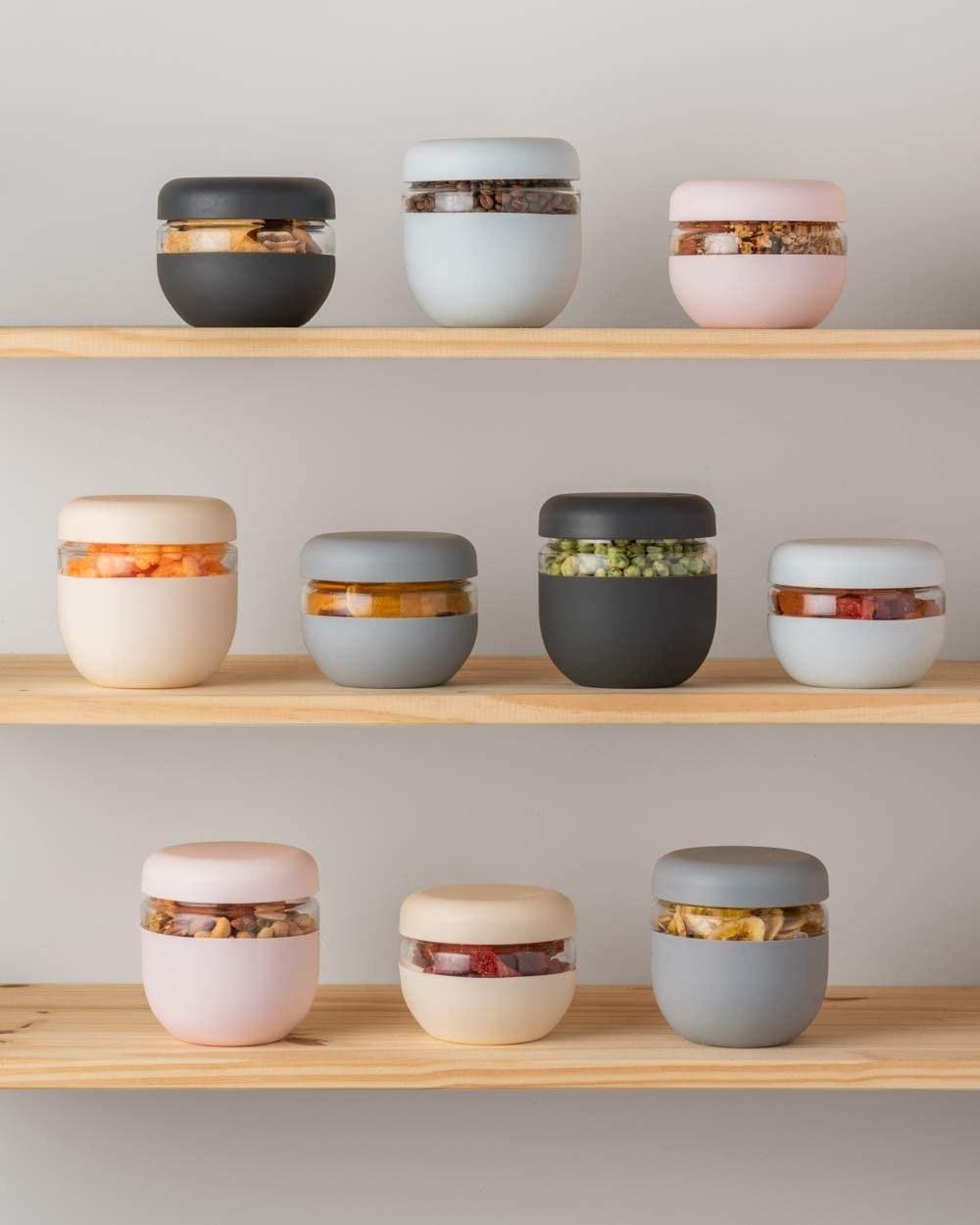 The jars holding snacks