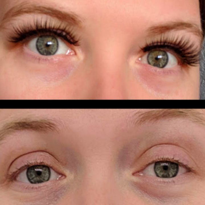 a before and after photo of the lashes on a reviewer