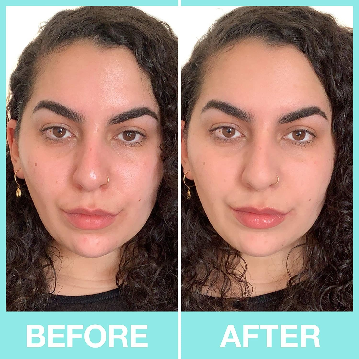 before and after photo of model with red skin on left and visibly more even skin on right