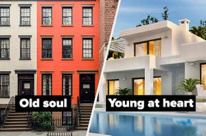 """""""Old soul"""" over apartments next to """"Young at heart"""" over a modern home and pool"""