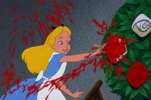 Alice from Alice in Wonderland painting the roses red