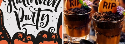 Halloween party card with chocolate mousse graveyard