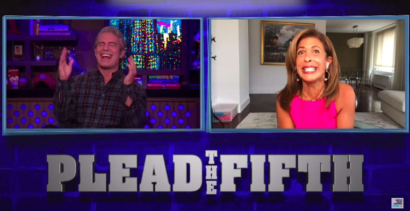 "Hoda Kotb playing ""Plead the Fifth"" with Andy Cohen"