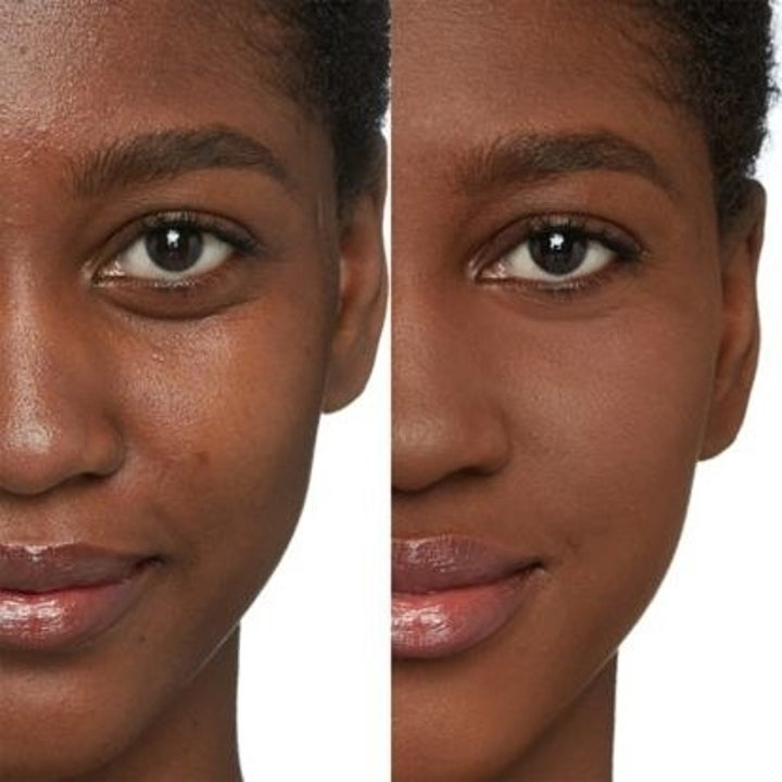 A bare-faced model with slightly uneven skin // The same model wearing the foundation with even skin