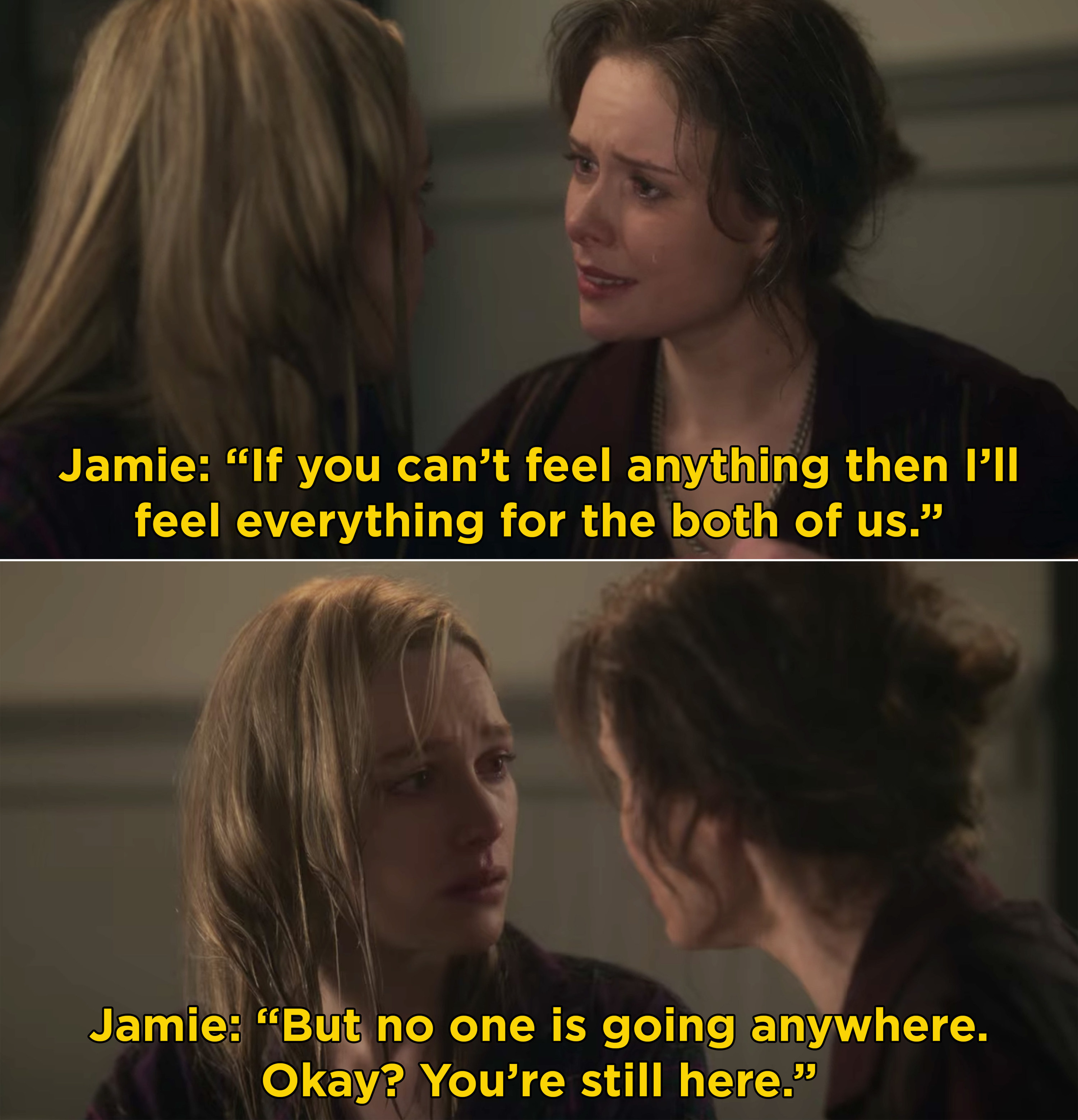 """Jamie telling Dani, """"If you can't feel anything then I'll feel everything for the both of us"""""""