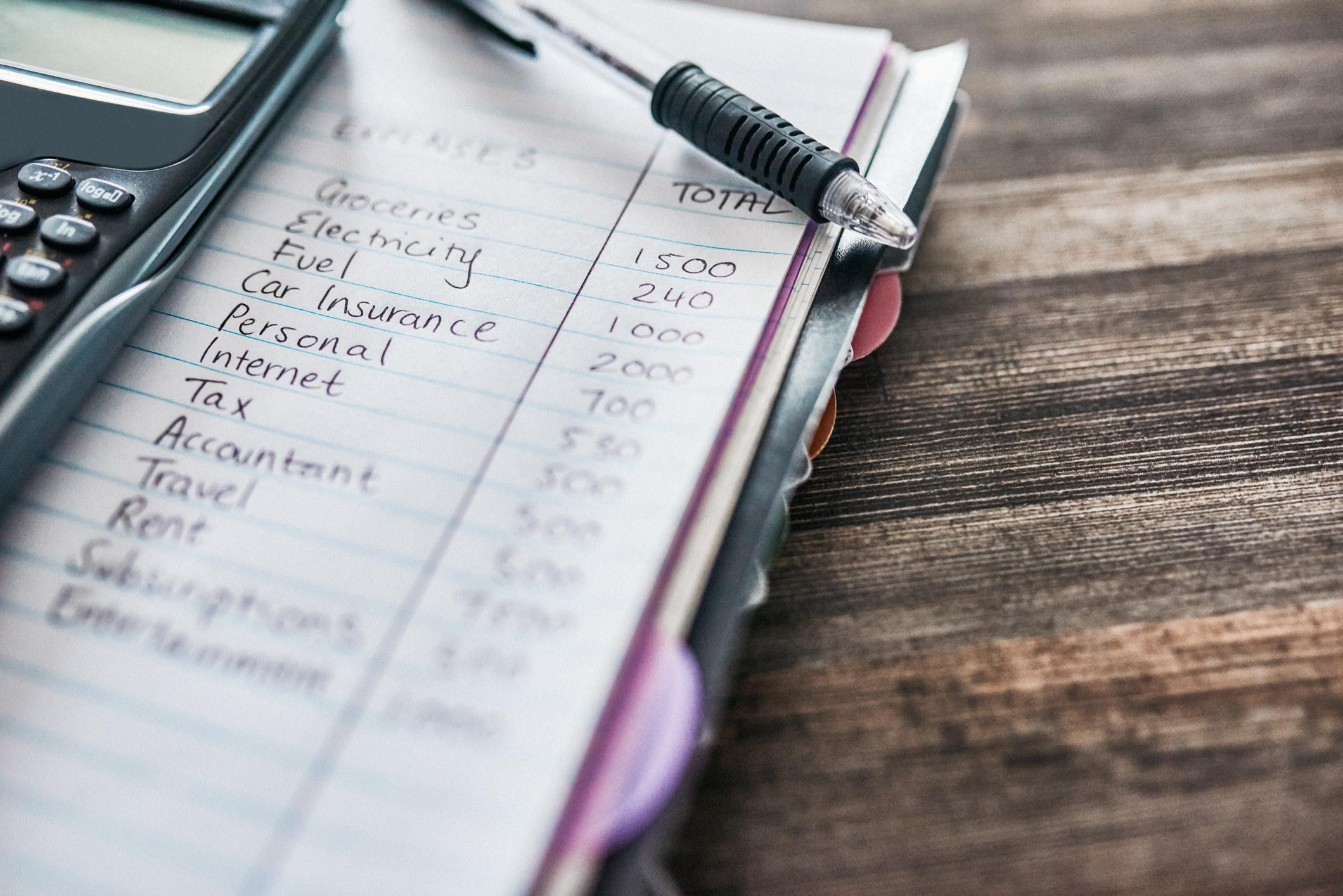 A budget sheet