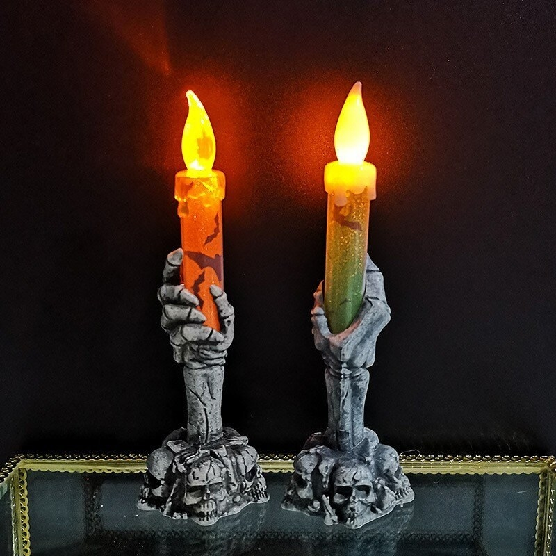 A pair of no-flame candle lamps