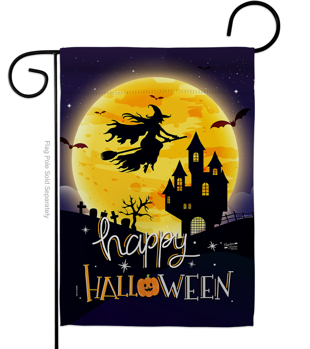 A happy halloween sign with a witch flying over a castle a night
