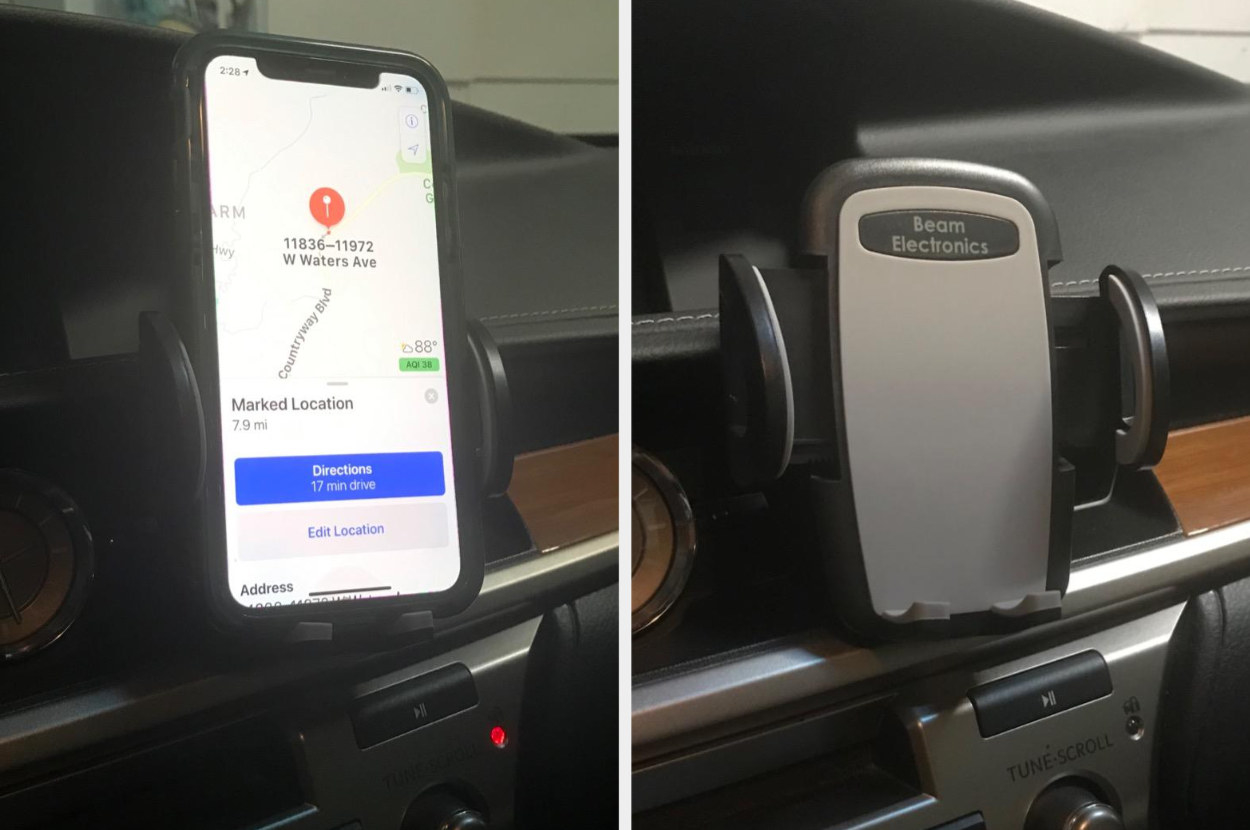 Reviewer's split image of a phone in gray and black mount and the mount without a phone on the car dashboard