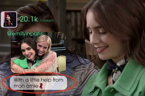 """Two girls are hugging with one posting a picture and a caption that reads: """"With a little help from mon amie"""""""