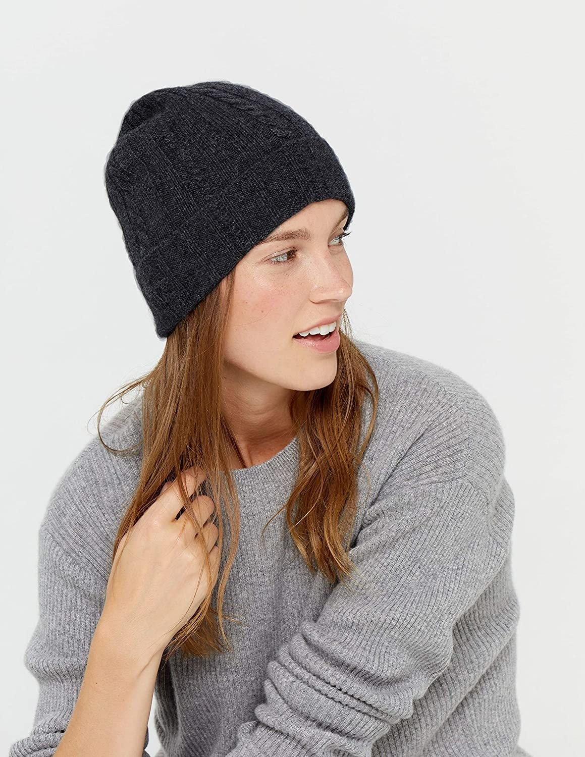 Model in the black beanie with a fold-over edge