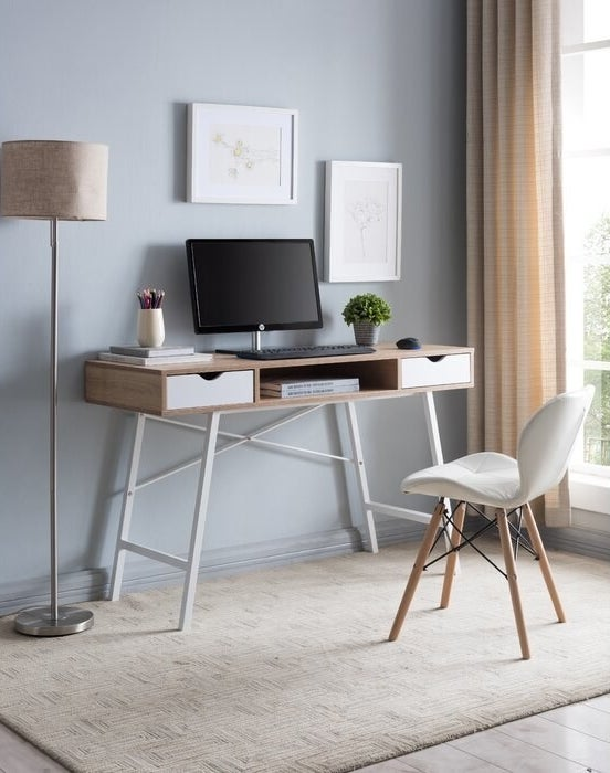 desk with white legs and drawers and wooden top