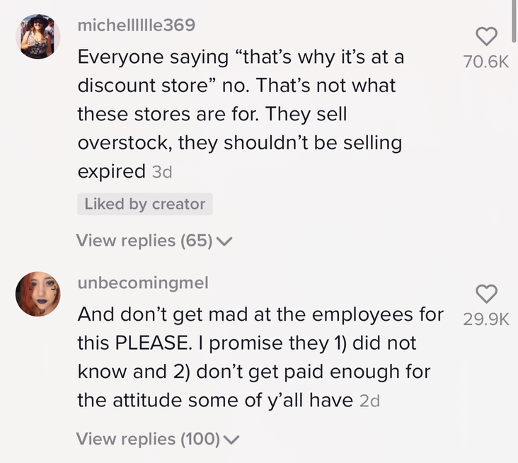 Comments saying they shouldn't be selling expired products.