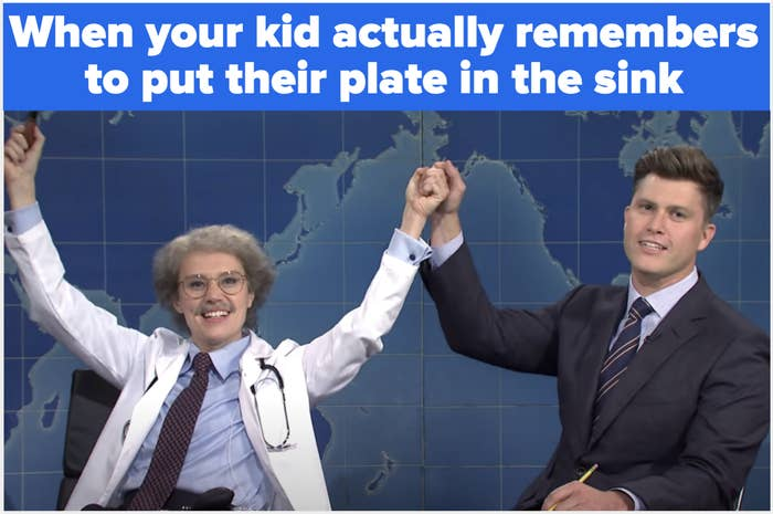 Kate McKinnon holds her hands in the air in triumph with the text: When your kid actually remembers to put their plate in the sink