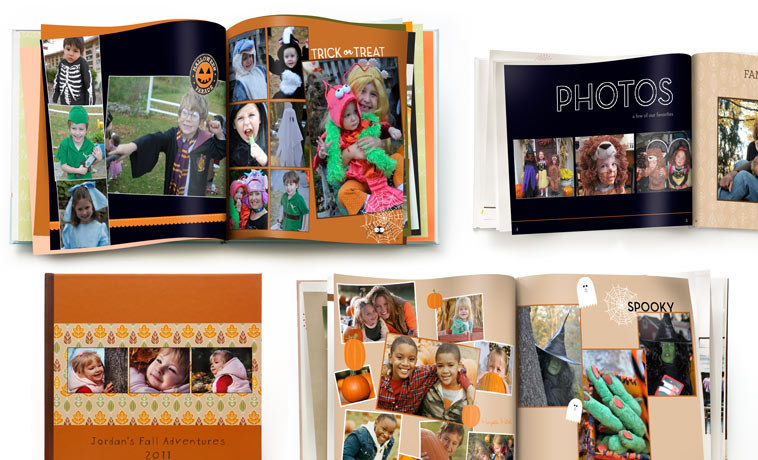 Sample pages from the book showing Halloween designs and photos of kids in costumes