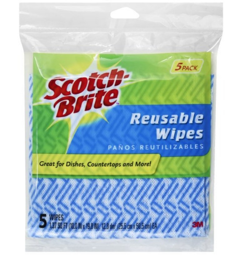Package of blue and white Scotch-Brite reusable wipes