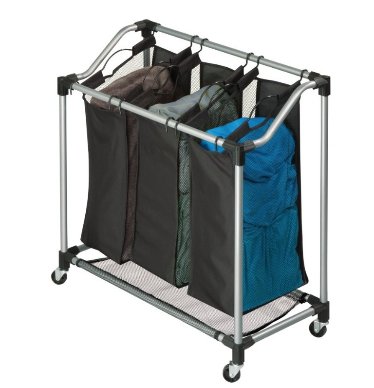 Black laundry sorter with three separate black bags with metal wheeled structure