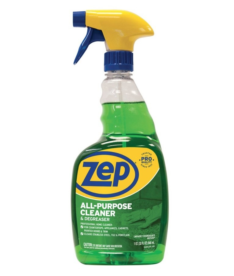 Spray bottle of green all purpose cleaner with blue and yellow Zep logo