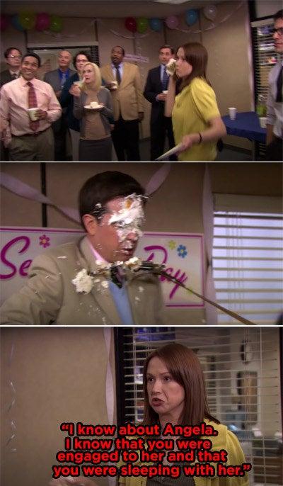 Erin throwing cake in Andy's face because she found out he hid his relationship with Angela from her
