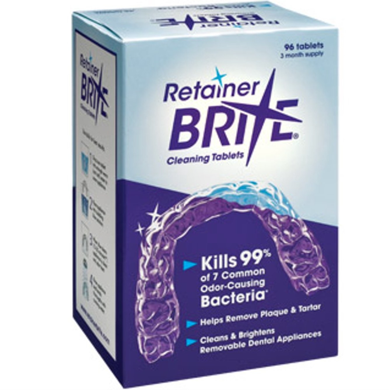 The retainer cleaner in its blue and purple packaging