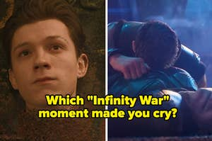 An image of Spider-Man turning to dust next to an image of Thor crying over Loki's death