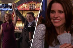 Veronica and Peter holding their hands up in Pretty Little Liars, and Brooke looking happy on One Tree Hill