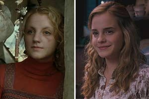 Luna Lovegood on the left and Hermione on the right