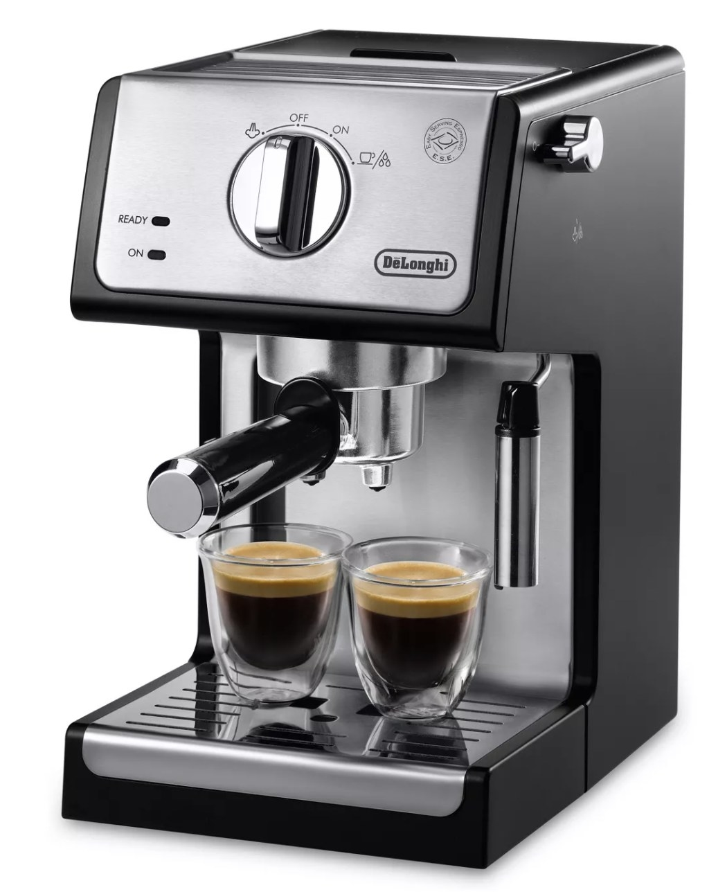 a stainless steel and black espresso maker with two glasses of espresso