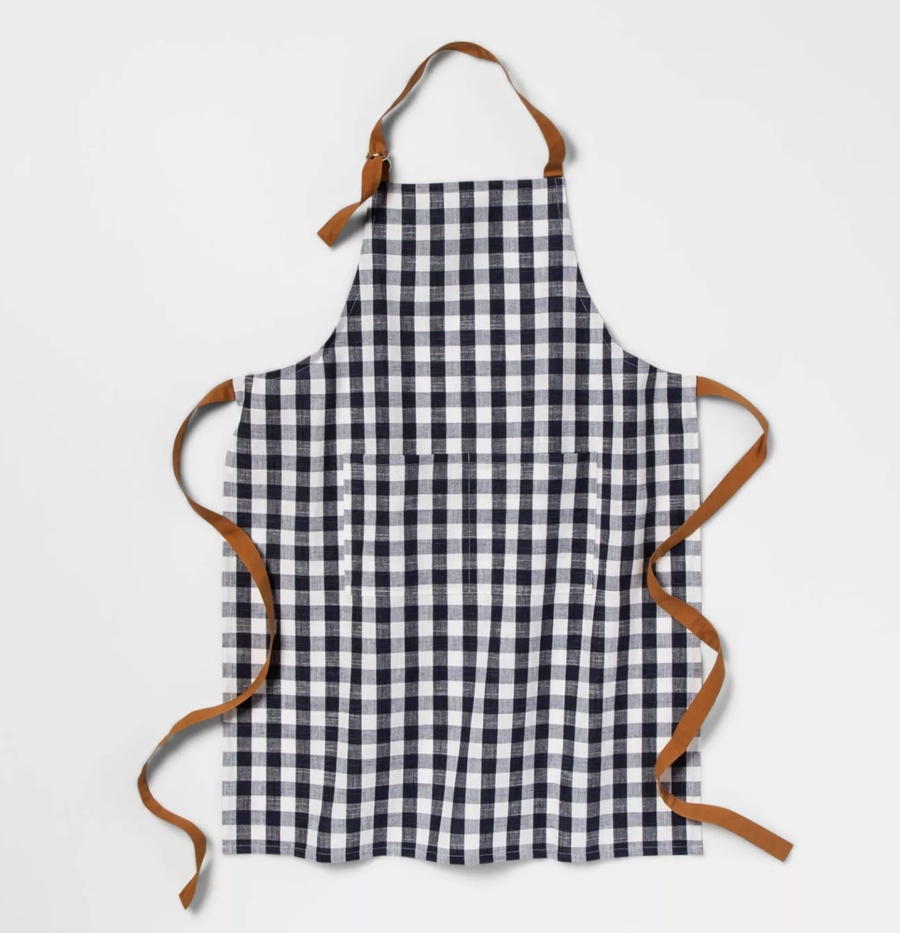 a blue and white checkered apron with tan strings