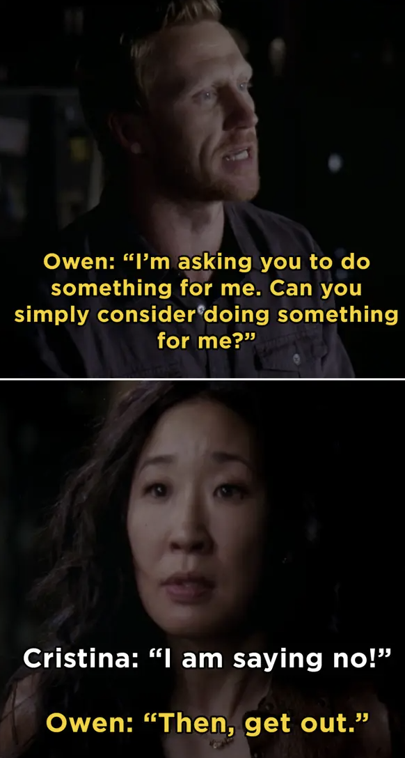 Christina and Owen disagreeing on something and him telling her to get out