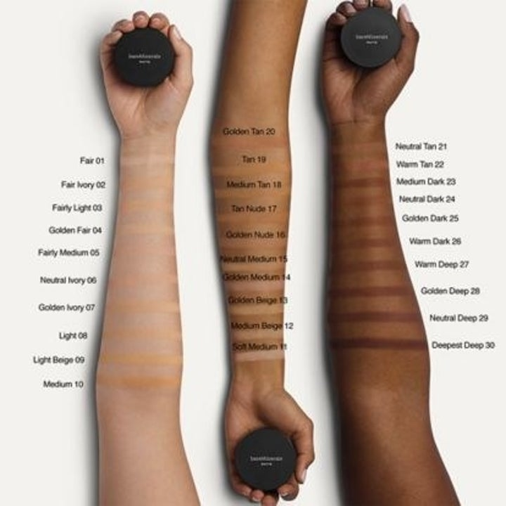Swatches of the foundation on three complexions