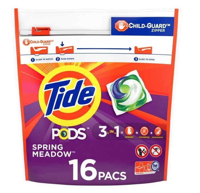 Purple and orange resealable bag of Tide pods with blue and yellow Tide logo and image of pod on the cover