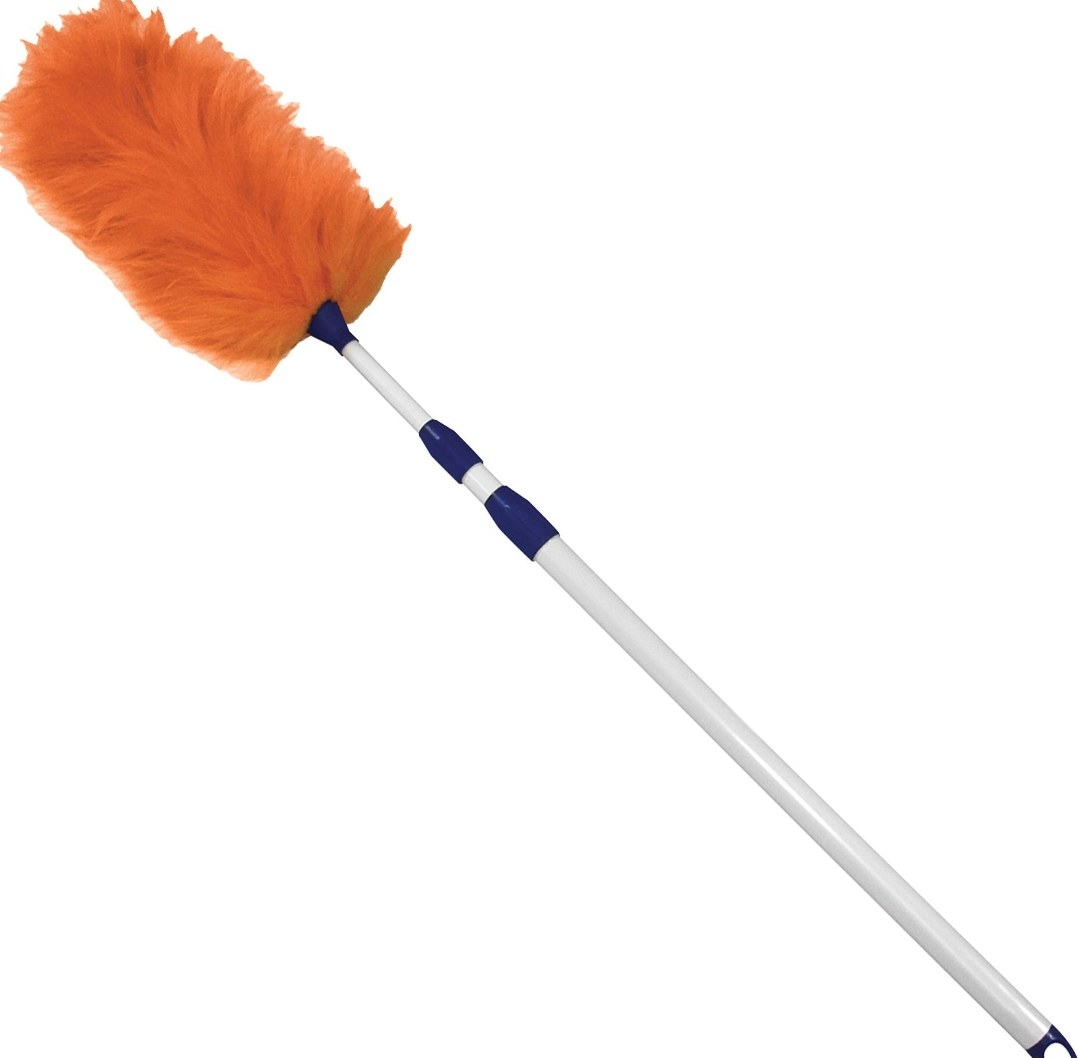 The adjustable lambswool duster with an orange feather tip and white handle
