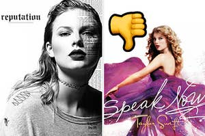 """Taylor Swift's """"Reputation"""" album is on the left with """"Speak Now"""" on the right next to a thumbs down emoji"""
